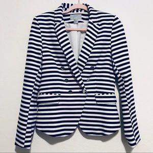 H&M Navy Blue/White Striped Jacket Size 12